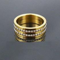 Aliança Feminna De Tungstênio 8mm Folheada A Ouro 24k