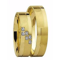 Par De Alianças Ouro 18k Fosca E Polida 4mm 8gr 6 Diamantes