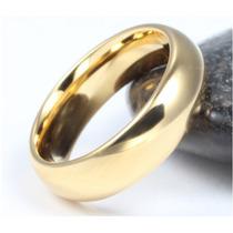 Par De Aliança Tradicional De Tungstênio 6mm Folheada A Ouro