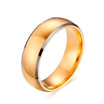 Aliança De Casamento Noivado Grossa Tungstênio Dourada 8.0mm