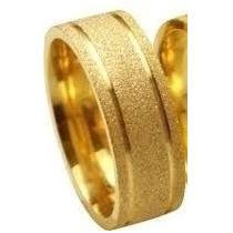 Aliança 8mm Folheada Ouro 18k. Fosco Diamantado