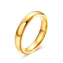 Aliança De Tungstênio Fina Banhada Folheada A Ouro Anatômica