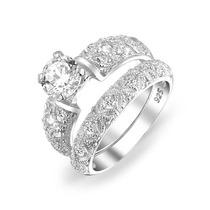 Bling Jewelry Cz Filigrana De Prata Nupcial Anéis De Noivado