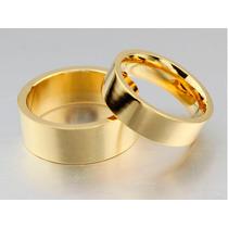 Aliança Banhada A Ouro 18k Grossa Para Casamento Anatômica