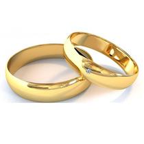Alianças De Ouro 18k 4,5mm 5 Gramas E 1 Diamante - Casamento