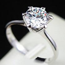 Anel Solitário Aliança Banhado Ouro Branco 18k Diamante