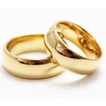 Alianças De Casamento Par Em Inox Brilhante Dourada !!!