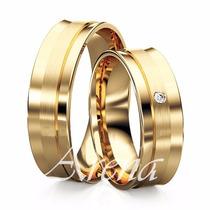 Lindo Modelo De Alianças Em Ouro 18k Diamante 14 Gramas 6mm