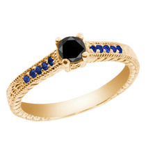 Ouro Anel De Prata Banhado A Black Diamond Amarelo