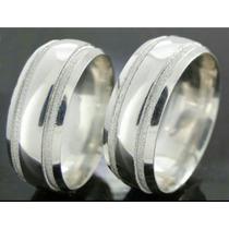 Par De Alianças Prata 950. 6mm Friso Diamantada Namoro