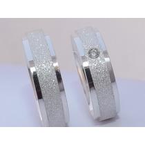 Par De Alianças Compromisso Prata 950 6mm Diamantada