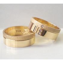 Par De Alianças Ouro 18k Prata 950 Zirconia Casamento 7mm