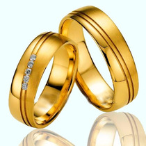 Par De Alianças Ouro 18k 5mm 9gr E 5 Diamantes Frete Grátis