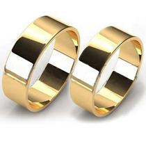 Par Alianças Ouro 18k 12 Gramas 8mm Noivado E Casamento Reta