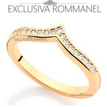 Rommanel Anel Meia Aliança Detalhe Em V 17 Zirconias 511431