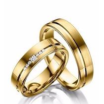 Par De Alianças De Ouro 18k 20g 8mm 7 Diamantes!