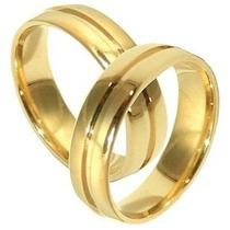 Alianca Casamento Cor De Ouro Grossa Par Moeda Antiga 8mm