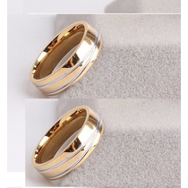 Par De Aliança Luxuosa De Tungstênio 6mm Folheada A Ouro 24k