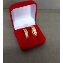 Alianças Par Noivado, Casamento Ou Compromisso Banhada Ouro