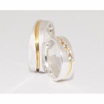 Alianças Em Prata 950k Compromisso Namoro Banho Ouro 18k