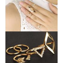 Conjunto Anéis Anel Dourado Falange Cristal Aliança Losango