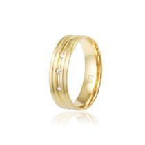 Aliança Banhada A Ouro, 6mm, Com 3 Pedras De Zircônia Ou Sem