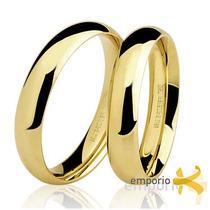 Par Alianças Ouro 18k - 5 Gramas 4mm Noivado E Casamento
