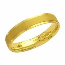 Aliança Casamento Fosca Reta Trabalhada Em Ouro 18k - Al68c