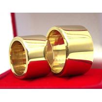 Anel Aliança 10mm Masculino & Feminino Cor De Ouro+ Brindes!
