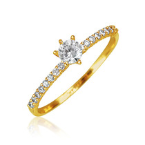 Bling Jewelry 14k Ouro Cz Fina Solitaire Anel De Noivado