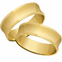 Par De Aliança Em Ouro Cavada 18k 4,5 Mm 6 Gramas Linda