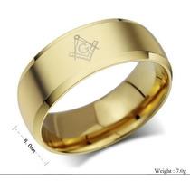 Anel Maçônico De Tungstênio 8mm Banhado A Ouro; Frete Gratis