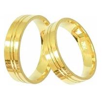 Par De Alianças Anel De Noivado Grossa, Cor De Ouro 12mm