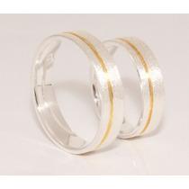 Alianças Prata 950k Diamantadas Namoro Banho Ouro 18k (par)