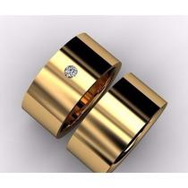 Par De Alianças Ouro 18k 20gramas 10mm Diamante Casamento