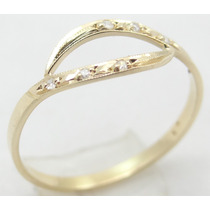 Feliz Joias - Diamantes Em Lindo Anel De Ouro 18k