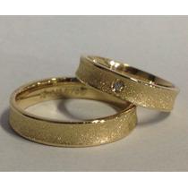 Par De Alianças Ouro 0,750 18k Prata 950 Zirconia 4mm Convex