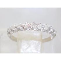 Boqueiraojoias Anel Meia Aliança 9 Diamantes Ouro Branco 18k