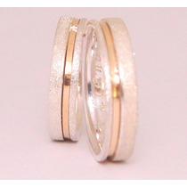 Alianças Diamantadas Namoro Prata 950k Banho Ouro 18k (par)