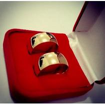 Aliança Prata Banho Ouro Grossa 9mm Lisa Casamento Noivado