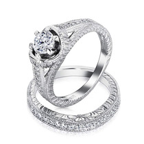 Bling Jewelry Cz Vintage De Prata Anéis De Casamento De Noi