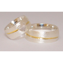 Alianças De Coração Compromisso Namoro Prata 950 Friso Ouro