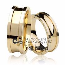 Par De Aliança Ouro 18k - 7mm/20grs - 15 Diamantes - Df756