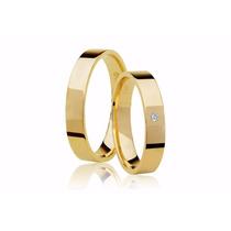 Par Alianças De Ouro 18k Casamento Quadrada Barato + Frete