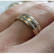Par Aliança Aço Inox 6mm Escovada Banhada Ouro Compromisso