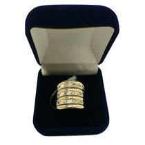 Anel Grosso De Prata Com Ouro 12k E Pedras Zircônias Vazado