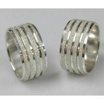 Par De Alianças Prata 950. 8mm Diamantada Namoro Compromisso