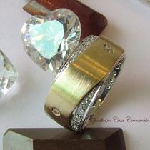 Aliança Pj509 Diamantes Ouro Amarelo E Branco 18k Ojoalheiro