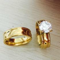 Par De Aliança Cristal De Tungstênio 6mm Folheada A Ouro 24k