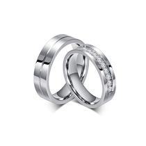Par De Alianças De Compromisso Namoro Com Pedras De Aço Inox